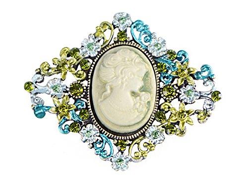 Broche en forma de diamante, camafeo con brillantes, estilo antiguo