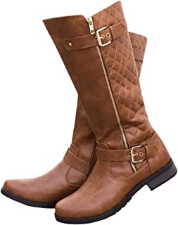 Syktkmx Womens Winter Knee High Boots Motorcycle Riding...