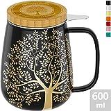 amapodo Teetasse mit Deckel und Sieb 600ml Porzellan Tasse groß, XXL Tassen Set Dunkelgrau plastikfrei