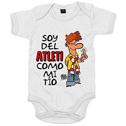Body bebé soy del Atleti como mi tio Jorge Crespo Cano - Blanco, 6-12 meses