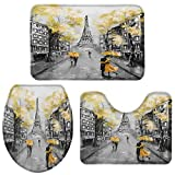 Big buy store Eiffel Tower Street Bathroom Rug Set of 3 Include Non-Slip Contour Mat, U-Shape Toilet Lid Cover and Absorbent Bath Mat, Gray Yellow Home Bath Decor - Large
