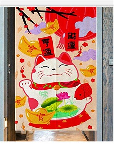 Icegrey Tenda per Porta Anteriore in Lino Noren Giapponese Tende Classiche e Drappeggi Tappezzeria Maneki Neko Rosso 85 x 170 cm