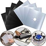 INTVN 8 pièces Plaque de Cuisson à Gaz Protection d'écran Anti-adhésif Réutilisable Protection Cuisinière Gazinière Tapis, 10.6 x 10.6 inch Argenté Noir