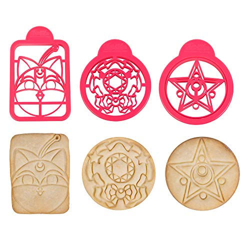 Sailor Moon Cookie Cutter 3pcs - (Outer Brooch, Inner Brooch and Luna P Ball Designs) Officially Licensed