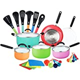 HULLR Aluminum Ceramic Nonstick All In One Kitchen Cookware Set Includes Stock Pot, Dutch Oven, Frying/Sauté Pan, Saucepan, Serving Utensils, Measuring Cups/Spoons, Induction Base (30 Ct) Multi color