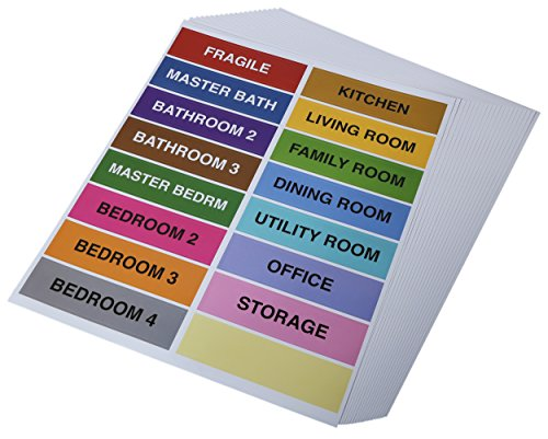 Home Removable Furniture Labels Self Adhesive Color Coding Labels for Furniture, Includes Fragile and Bedroom Stickers, Color Coded Moving Supplies 320 Count 1x4 Inches Each
