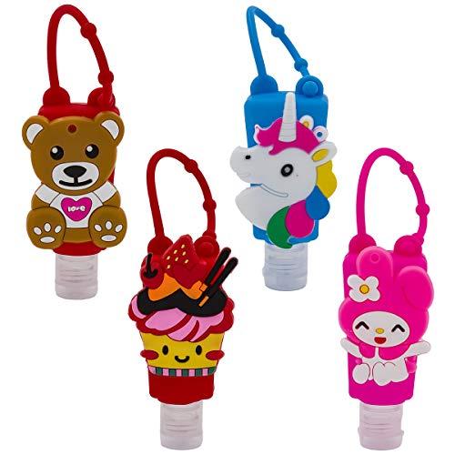 Carnavalife, Juego Accesorios, 4 Botes para Gel, Diseños Divertidas, Bote Llavero para Colgar, para Adulto y Niños