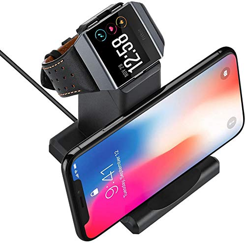 GOSETH Compatible with Fitbit Ionic Charger, Charging Dock Station Holder for Fitbit Ionic SmartWatch(Not Work with The Protective Case), Stand Holder for Phone