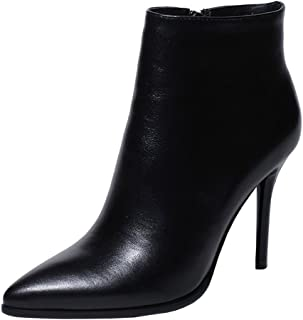 VOCOSI Women's Leather Ankle Boots Thin Heels Pointy Toe Zipper Daily Wear Booties