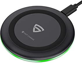 RAEGR Arc 500 Qi-Certified 10W/7.5W Fast Wireless Charger with Fireproof ABS for iPhone11/11Pro/11Pro Max/Xs/Xs MAX/XR/X/8/8Plus,Galaxy S20+/Note10/Note10+/S10/S10Plus/S10E/Note9/S9 - Black