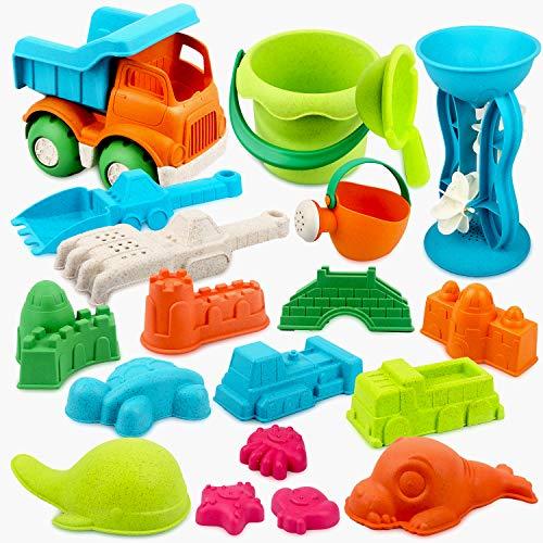 Vanplay Juguetes de Playa para Niños 19 Piezas Material de Paja de Trigo con Bolsa de Malla Juegos de Playa
