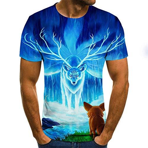 Kurzarm Firefox und Shenlu T-Shirt männlich 3DT-Shirt Kurzarm Rundhals Digitaldruck lässig Kurzarm-Color_4XL