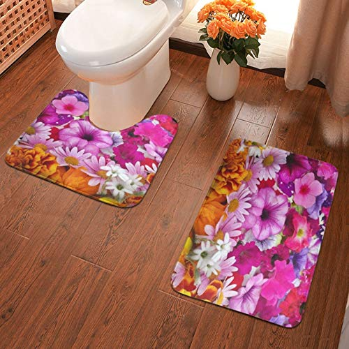 John J Littlejohn Non Slip Colourful Flowers Bathroom Antiskid Pad Bathmat Waterproof Bath Carpet Floor Rug 2 Pieces Bath Mat + Contour