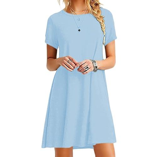 f7b4af26c0 YMING Women Loose Short Sleeve Casual Dress A Line Swing Simple Multicolor  Mini Dress