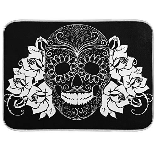 18x24 Inch XL Absorbent Microfiber DishDryingMatsforKitchenCounter Sinks with Hanging Loop - Art Candy Skull Flower Black White