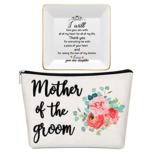 Wedding Makeup Bag for Bride Groom Mom Mother Makeup Pouch Flower...