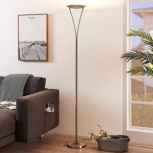 Lindby LED Stehlampe \'Mauricio\' dimmbar (Modern) in Alu aus Metall u.a. für Wohnzimmer & Esszimmer (1 flammig, A+, inkl. Leuchtmittel) - Wohnzimmerlampe, Stehleuchte, Floor Lamp, Deckenfluter