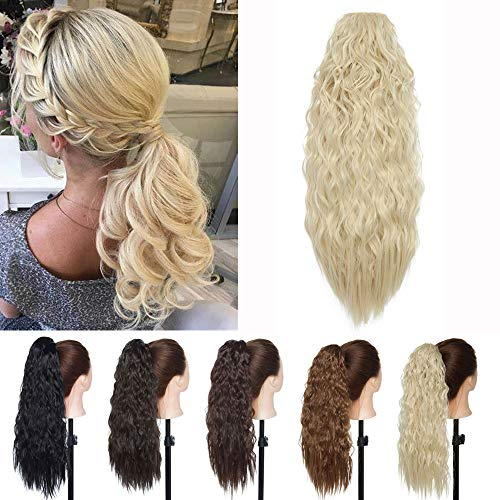 18 Inches Corn Wave Ponytail Hair Extensions Long Afro Kinky Curly Clip In Pony Tail Hairpieces Yaki Curly Synthetic Hair Corn Wavy Drawstring Ponytail Heat Resistant Puff For Women(Bleach Blonde)