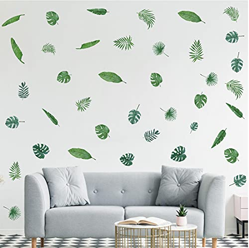 TOARTI Palm Leaf Wall Stickers, Green Leaves Wall Decals, Tropical Plant...