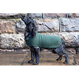 Dog & Field™ Duel Layer Towelling Dog Coat (Olive Green) – Microfiber Lined Fleece Pet Drying Jacket XS – XXL Sizes