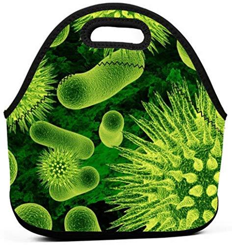 Bolsa de almuerzo de neopreno Bolso de mano Contenedor de alimentos Bolso de almuerzo gourmet Refrigerador de caja de almuerzo Bento portátil caliente - Biomoléculas verde