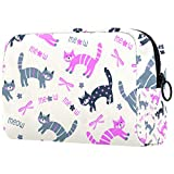 Bolsa de maquillaje personalizada para brochas de maquillaje, bolsas de aseo portátiles para mujeres, bolso cosmético, organizador de viaje lindo gato