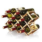 Estante de almacenamiento de vino plegable de pie y encimera, estante de almacenamiento de vino, organizador de mesa (10 botellas)