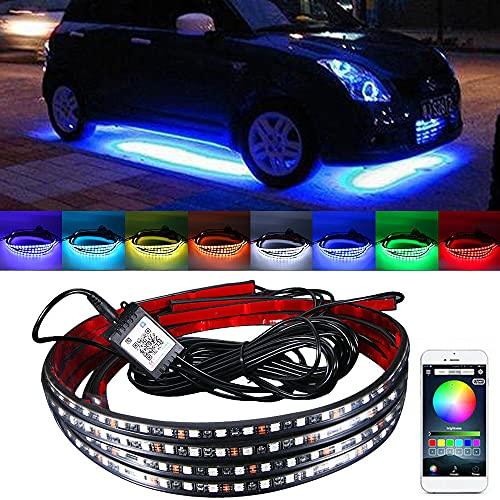 Paddsun 8 Farben LED Außenbeleuchtung Auto,Sound Active Function und drahtlose Funkfernbedienung,Wasserdicht Beleuchtung APP, Auto Steuerbare mehrfarbig Musik LED Strip