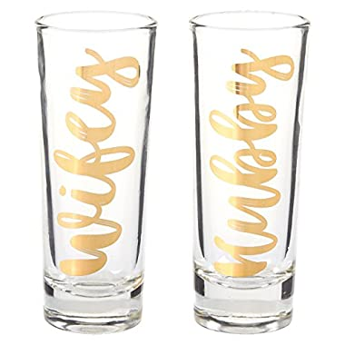 Party Shot Glasses - Hubby Wifey Couple Shot Glasses with Gold Foil Print for Newlyweds, Anniversary, Bridal Shower, and Engagement - Set of 2, 2 oz Each