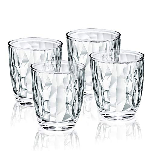 10-ounce Plastic Water Tumblers | Set of 4 Transparent Unbreakable Drinking Glasses Clear Acrylic Reusable Juice Wine Cups for Home Picnic Party, Dishwasher Safe, Stackable (Transparent)