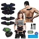 PowerBox Estimulación muscular eléctrica 2 en 1 EMS + terapia de dolor TENS para pecho, brazos, espalda, piernas y abdominales, recargable por USB, para hombres y mujeres