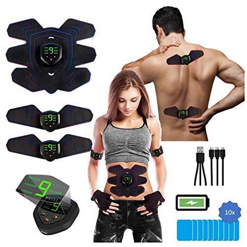 PowerBox Muskelstimulation elektrisch, 2-in-1 EMS Trainigsgerät + TENS Schmerztherapie für Brust-, Arm-, Rücken-, Bein und Bauchmuskulatur, USB wiederaufladbar, für Damen und Herren