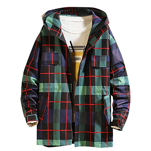 MAYOGO Softshell Jacke Herren Winter Jacke Freizeitjacke Plaid Kapuzenjacke College Jacke Regenjacke Full-Zip Windbreaker Windjacke