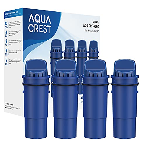 AQUA CREST CRF-950Z NSF Certified Pitcher Water Filter, Replacement for Pur CRF950Z, DS-1800Z, PPT700W, PPF951K, CR-1100C, CR-6000C, PPT711W, PPT711, PPT710W, PPT111W and More Pur Pitchers (Pack of 4)