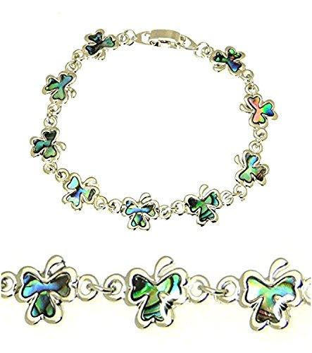 benerini Beautiful Natural Abalone Paua Shell Shamrock Silver Colour Bracelet in Gift Box
