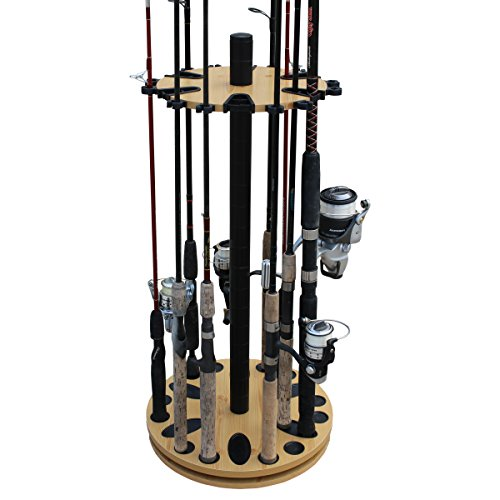 Rush Creek Creations 24 Round Spinning Fishing Rod Rack - Fishing Pole Holder and Storage, Wood Grain Laminate