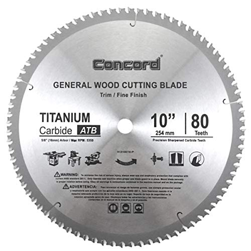 Concord Blades WCB1000T080HP 10-Inch 80 Teeth TCT General Purpose Hard & Soft Wood Saw Blade