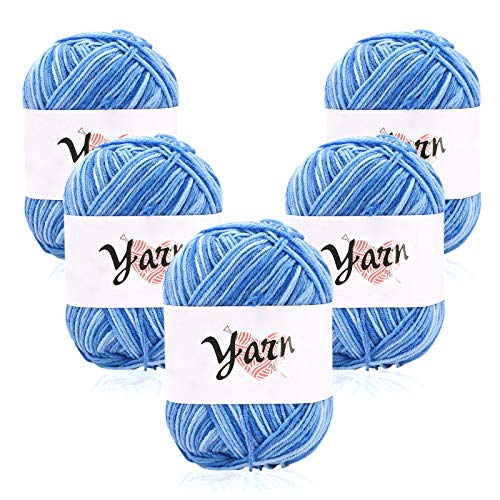 Ovillos de Lana 5x50g 100% Acrílicos Skeins Perfecto para Cualquier Proyecto de Ganchillo y Punto hilos multicolores para jerseys, mantas, prendas de bebé, muebles, tejido, tejido y ganchillo Blue