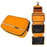 Bolsa de Aseo para Colgar, Jiemei Bolsa de Aseo de viajepara Hombres y Mujeres con tamaño Compacto y Plegable, Cremallera, 2 Paquetes de Perchas portátiles de Regalo (Naranja)