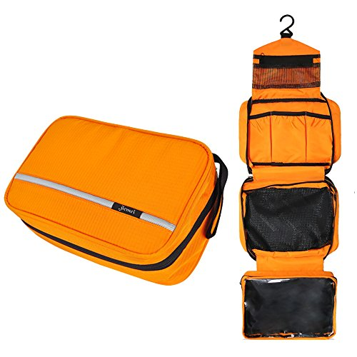 Hanging Toiletry Bag Waterproof, Jiemei Travel Wash Bag for Men & Women with 4 Compartments, Foldable Compact Size, Super Durable Fabric (M, Orange)