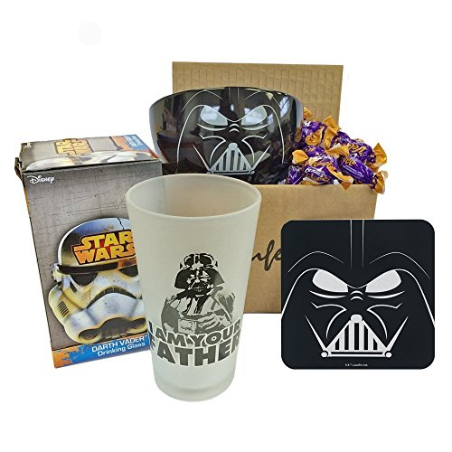 Premier Life Store Father's Day Star Wars Gift with Breakfast Bowl, Frosted Glass, Coaster and Cadbury Eclairs Chocolates