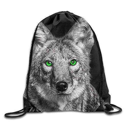 Lsjuee Green Eyed Coyote Print Drawstring Backpack Rucksack Shoulder Bags Gym Bag Sport Bag