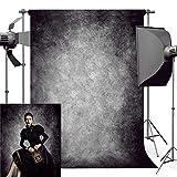 Foto Hintergrund, econious 1,5 x 2,2 m Retro Kunst Black Grey Portrait Backdrop für die Fotografie, Beständig Fleece-wie Stoff Foto Hintergrund mit Stab Tasche (nur Hintergrund)