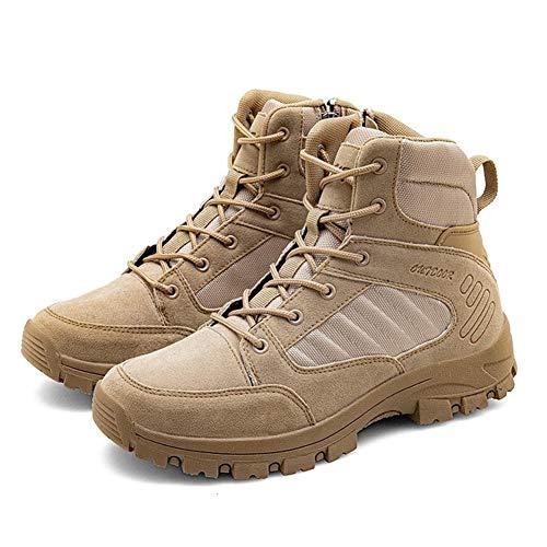 Alebaba Hombres Invierno Cuero Zapatos Hombres Impermeable Botas de Nieve Botas Militares de Combate Botas de Hombre Zapatillas Tácticas Botas, color Marrón, talla 45 1/3 EU
