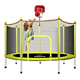 72'' Toddler Trampoline for Kids with Enclosure Toys for 2-7 Years Old Boys and Girls Enclosed Mini Trampoline with Enclosure Net and Basketball Hoop, 6 FT Small Kids Trampoline, Yellow