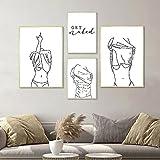 WAFENGNGAI cuadros nórdico, pintura en lienzo abstracta en blanco y negro, cartel con letrero, impresión de mujer, imagen moderna, decoración de pared de baño, sin marco