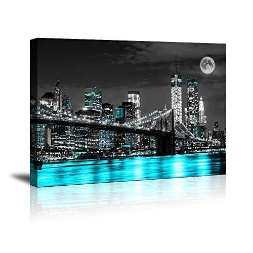 Canvas Wall Art Blue sea New York Brooklyn Bridge Paintings Wall Art,Black and White Stretched Wall Art for Bedroom Artwork Canvas Art Prints, 12'x16'Wall Decor Painting Bedroom Office, Ready