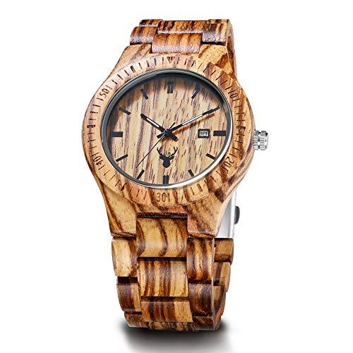 WHQ Mode-Uhr-Neue Sandelholz-Quarz-Uhr-Männer Holztisch High-End-Kreative Holz Uhr, mit leuchtendem, das besten Urlaub Geschenk QD (Color : A)
