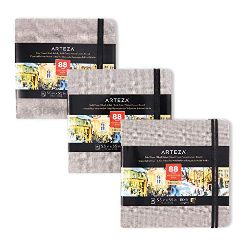 Arteza Watercolor Sketchbooks, 5.5x5.5-inch, 3-Pack, 132 Sheets, Gray Art Journal, Hardcover 110lb Paper Book, Watercolor Sketchbook for Use as Travel Journal and Mixed Media Pad