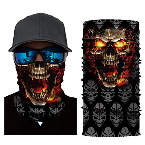 LOOVEE Mundschutz Halstuch Dünn, Nahtlose Bandanas Multifunktionstuch Schal 3D Halstuch für Motorrad Fahrrad Paintball Gamer Karneval Kostüm Herren Damen Face Shield (AC339)